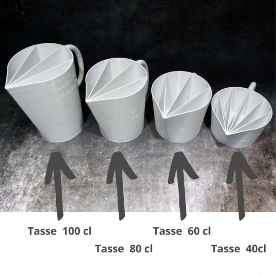 Tasse cup de  100cl - 5 canaux pour peinture acrylique liquide fluide,  pouring ou   L12 L16 Ht17